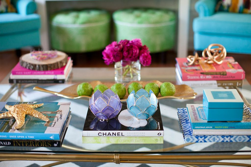 HomeGoods Tablescape and Ottomans