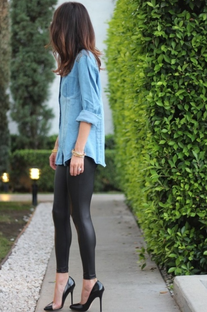 leather leggings, chambray shirt