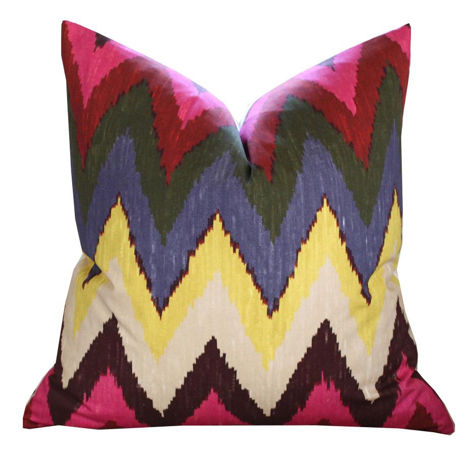 Schumacher Adras Ikat Pillow Cover in Jewel
