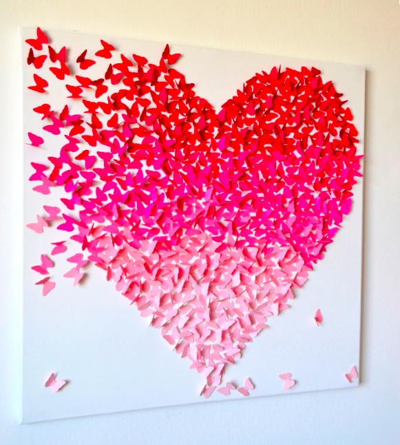 Ombre Butterfly Heart