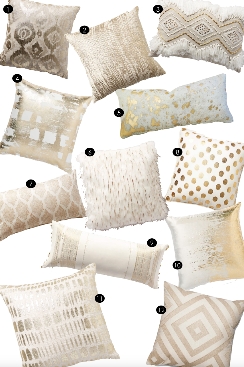 Cream + Gold Pillows | Kiki's List