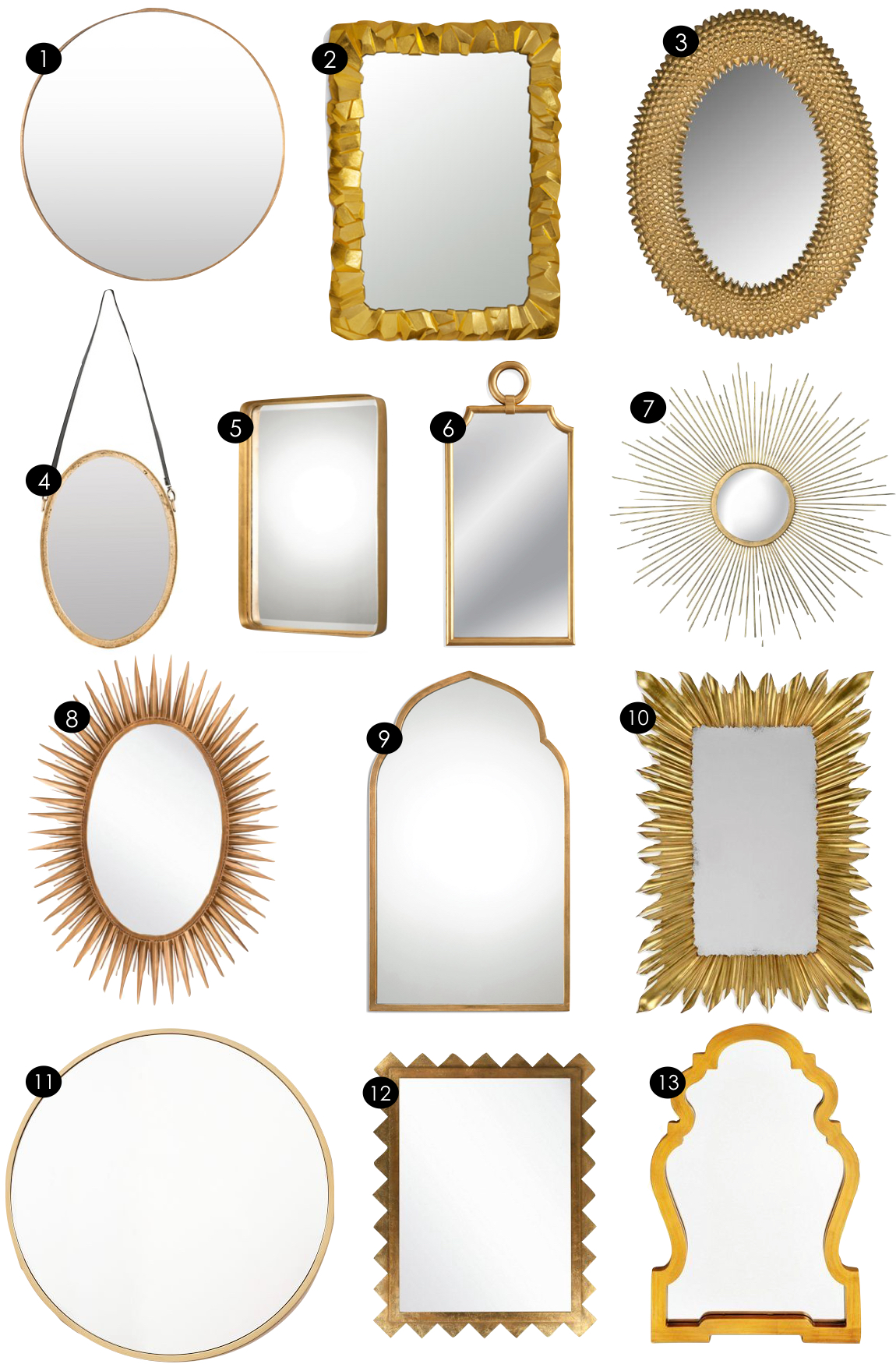 Gold Mirrors  |  Kiki's List