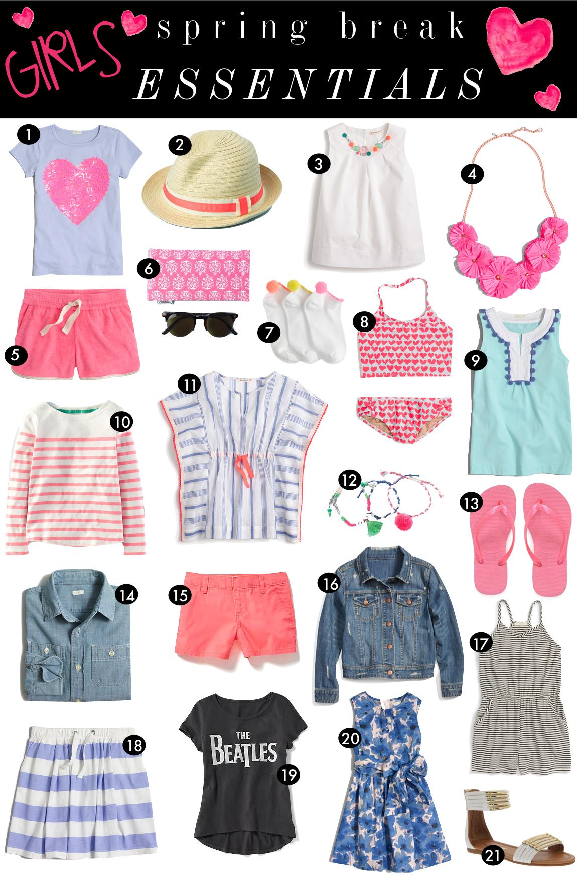 Girls Spring Break Essentials  |  Kiki's List